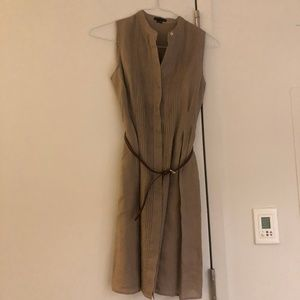 Theory Linen Sleeveless Dress with Brown Belt